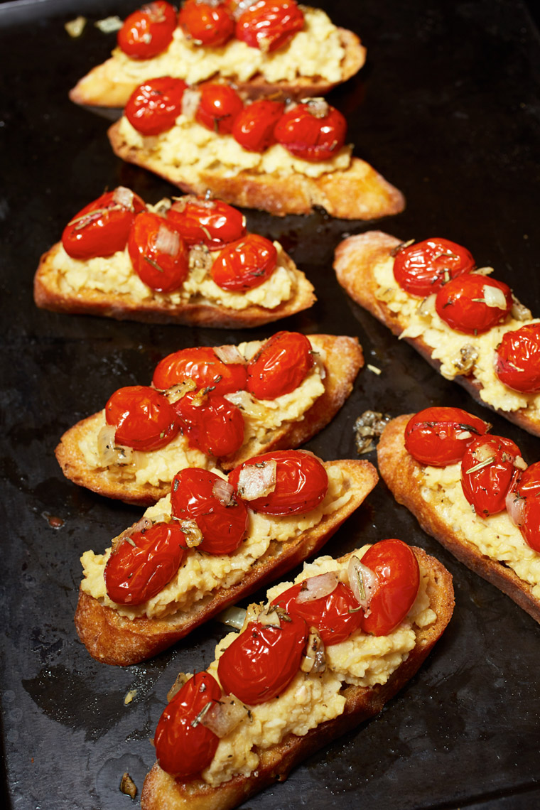 Smashed Chickpeas & Roasted Tomatoes on Baguette Slices